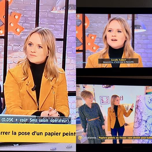 Emission France 5 la quotidienne Coralie aubert décoration d'intérieur papier peint revêtements muraux bois tissu mural décoration d'intérieur